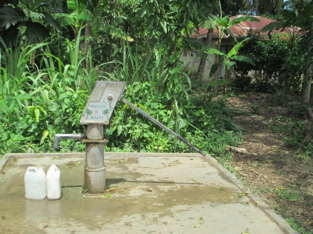 Everyone comes to a central pump for their water, often a daily chore for the kids in the house.